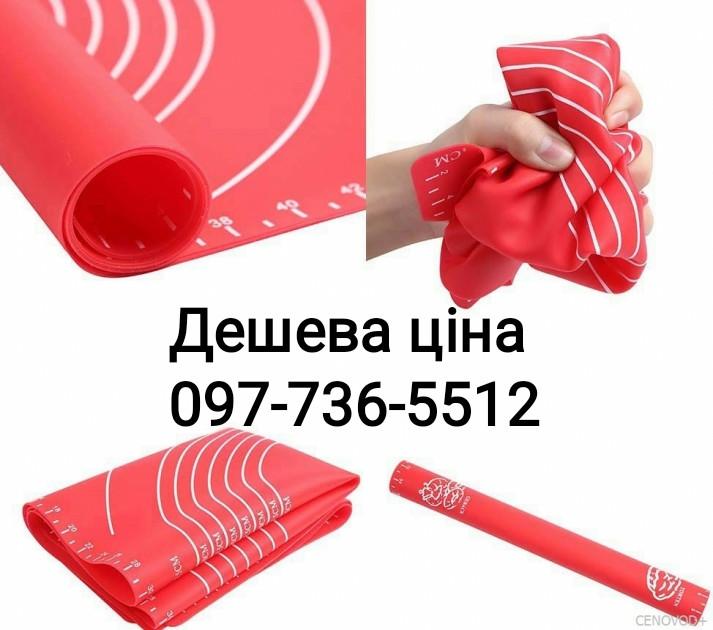 Силиконовый коврик для раскатки и выпечки теста 60-42 см Красный