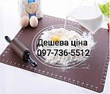 Силиконовый коврик для раскатки и выпечки теста 60-42 см Коричневый, фото 2