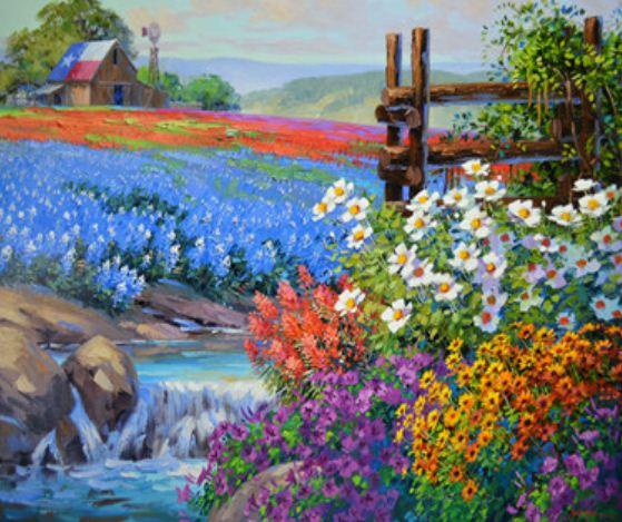 "Картина по номерам EKTL1301_O 30*40см ""Цветочные поля"" OPP (холст на раме с краск.кисти)"