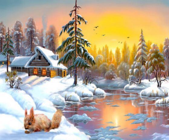 """Картина по номерам EKTL1284_O 30*40см """"Зимняя сказка"""" OPP (холст на раме с краск.кисти)"""