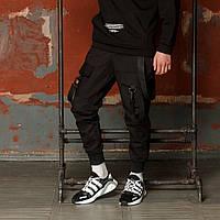 Карго штаны черные с лямками подростоковые размеры (чорні штани для підлітків) XL