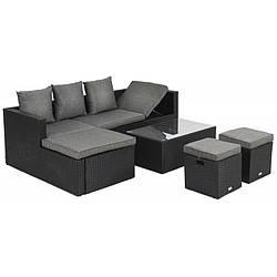 Набор садовой мебели из ротанга Bologna черная/серая мебель для дома, сада и ресторанов
