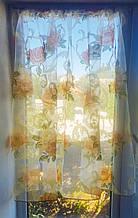 Занавеска на створку окна Розы оранж 1шт 150смх105см