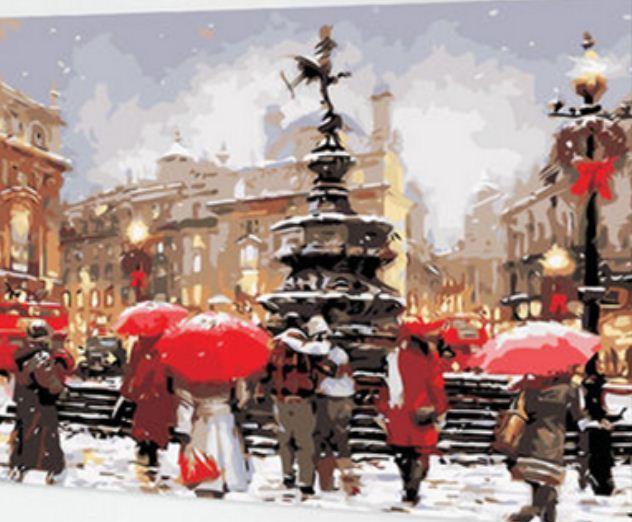 "Картина по номерам EKTL0149_O 30*40см ""Зимний фонтан"" OPP (холст на раме с краск.кисти)"