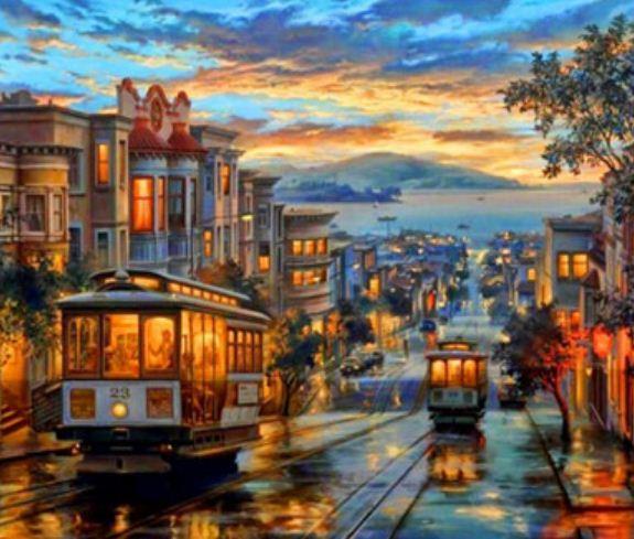"Картина по номерам EKTL0122_O 30*40см ""Городские улицы"" OPP (холст на раме с краск.кисти)"
