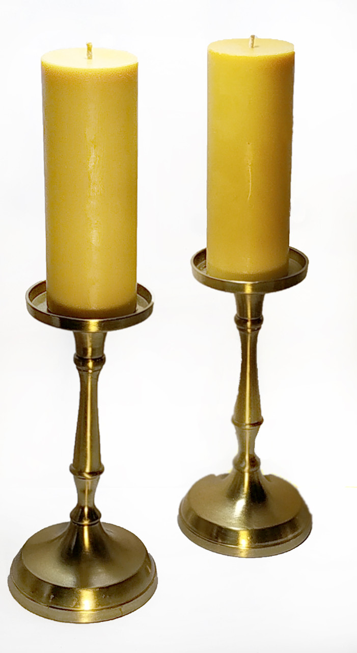 Интерьерная восковая свеча цилиндр. Литая столовая свеча из пчелиного воска 400 грамм.