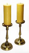 Інтер'єрна воскова свічка циліндр. Лита їдальня свічка з бджолиного воску 400 грам.