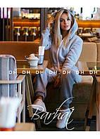 Модный женский теплый комбинезон с ушками из трехнитки на флисе