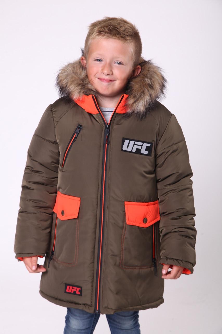 Зимова куртка дитяча для хлопчика 2 6 років 28-38 хакі+помаранчевий