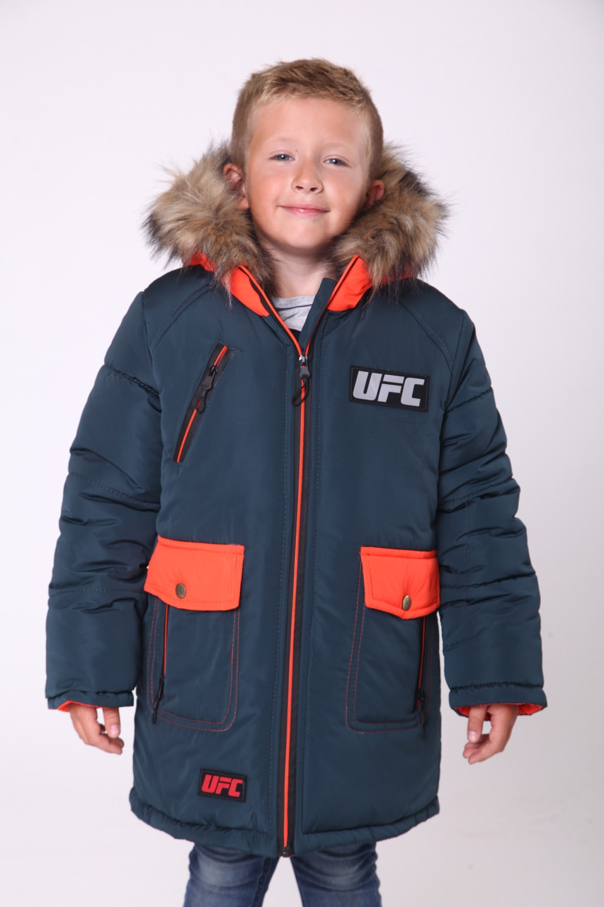 Детские зимние куртки на мальчика  от производителя  28-38 волна+оранжевый