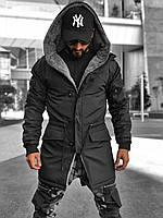 Мужская удлиненная куртка-парка мужская зимняя черная однотонная (Турция) - S, M, XL, 2XL