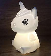 Силіконовий дитячий нічник «Єдиноріг» 7 LED квітів USB нічник-світильник