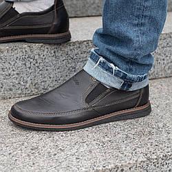 Мужские кожаные туфли  классические 40-45 тайфун чёрный