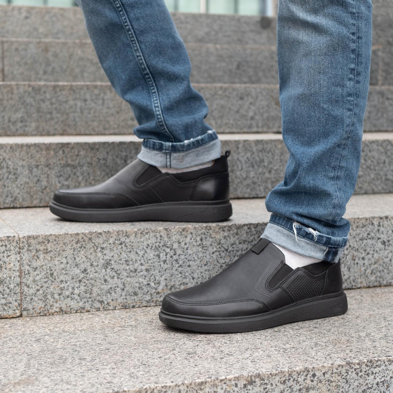 Чоловічі туфлі з натуральної шкіри 40-45 шкіра денвер чорний