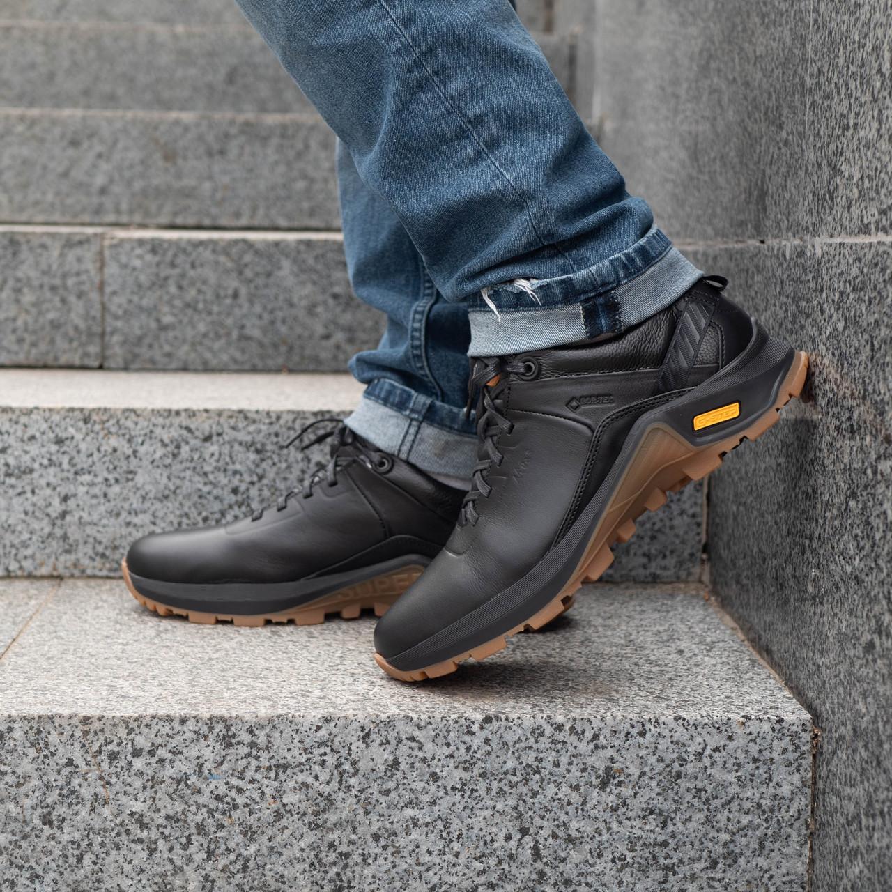 Мужские осенние кроссовки  кожаные 40-45 кожа денвер черный