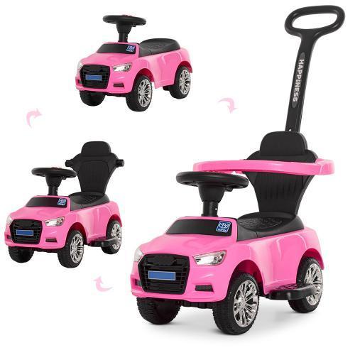 Детская машинка каталка толокар Bambi M 3503A-8 Audi, MP3, розовый