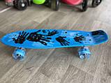 """Скейт Penny Board, с широкими светящимися колесами Пенни борд, пенниборд детский , от 4 лет, расцветка """" Рука, фото 4"""