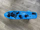 """Скейт Penny Board, с широкими светящимися колесами Пенни борд, пенниборд детский , от 4 лет, расцветка """" Рука, фото 8"""