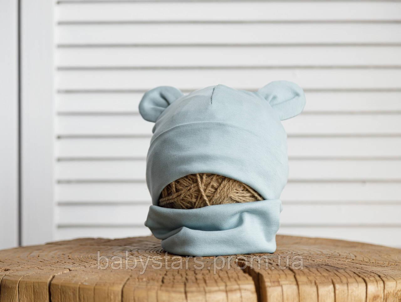 Набор «Мишка» шапочка с ушками и манишка (42-46, 46-50, 50-54) Мята