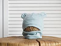 Набор «Мишка» шапочка с ушками и манишка (42-46, 46-50, 50-54) Мята, фото 1