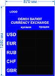 Электронное табло обмена валют(красные модули) - 5 валют 870х1240мм, фото 2