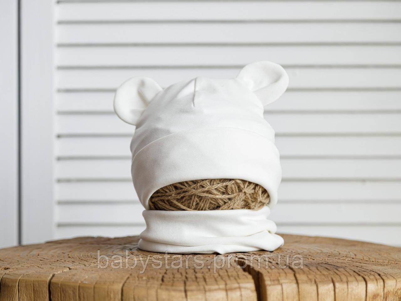 Набор «Мишка» шапочка с ушками и манишка (42-46, 46-50, 50-54) цвет белый