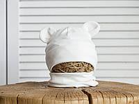 Набор «Мишка» шапочка с ушками и манишка (42-46, 46-50, 50-54) цвет белый, фото 1