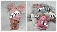 М 94045 Шапка вязаная зимняя для девочки с ушками (малявка) 1-5 лет, разные цвета Флис