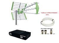 Комплект для Т2 с наружной антенной для Дальнего Расстояния: тюнер World Vision T65M+антенна Т2 Maxima L+кабе