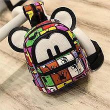 Женский рюкзак Микки Маус, рюкзачок с ушками для девочки, сумочка- рюкзачок детям для прогулки