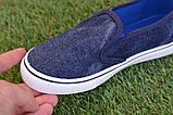 Детские джинсовые слипоны мокасины кеды синие р32-37, фото 4