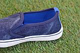 Детские джинсовые слипоны мокасины кеды синие р32-37, фото 5