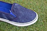 Детские джинсовые слипоны мокасины кеды синие р32-37, фото 7