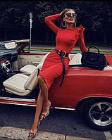 Платье, Ткань: Французский трикотаж, р-р 42-44, 44-46, цвет ( Чёрный, Марсала, Красный )