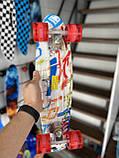 Скейт Penny Board, із широкими світлими колесами Пенні борд, дитячий , від 4 років, Абстракція, фото 2
