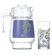 Набор для напитков Luminarc Purple из 7 предметов. Ударопрочное стекло.