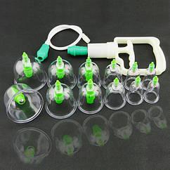 Банки вакуумные антицеллюлитные массажные  Bao Yi Pull Out  24 штуки с насосом
