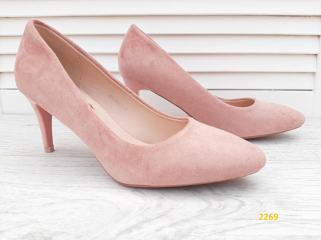 Туфлі замшеві туфельки на низькому каблуці пудрові 36, 40 р. (2269)