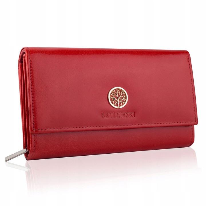 Жіночий шкіряний гаманець Betlewski з RFID 17,5 х 10,5 х 4 (BPD-SB-12) - червоний