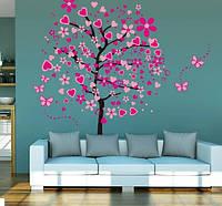 Декоративная наклейка для интерьера Дерево в сердечках