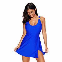 Купальник слитный платье синий цвет размер 3XL большой размер
