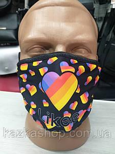 Защитная многоразовая маска с ярким принтом Likee, универсальный размер