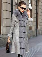 Зимовий універсальне жіноче пальто дублянка з хутром, фото 1