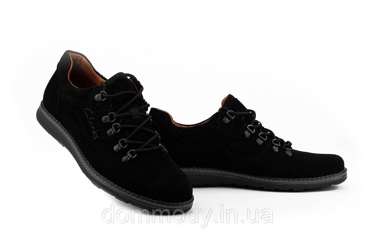 Туфли мужские из замши черного цвета