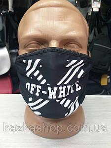 Защитная многоразовая маска с ярким принтом Off White, универсальный размер