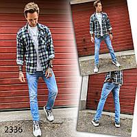 Мужские брюки штаны джинсы приуженные голубые подросток большие размеры стильные модные Турция