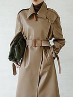 Женская куртка из искусственной кожи, свободное длинное кожаное пальто в стиле ретро 2 цв, фото 1
