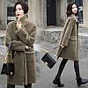 Шерстяное пальто женское средней длины свободного из искусственного меха 3 цвета
