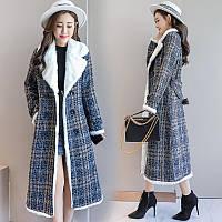 Плюшевое шерстяное длинное пальто в клетку, фото 1