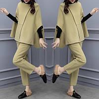 Женский модный плащ шерстяная куртка +брюки из двух частей костюм женский
